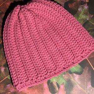 Pink winter beanie hat